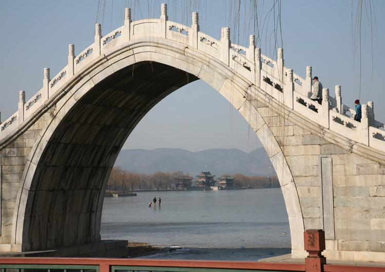 Part View of Beijing Chang River from Arch of a Bridge
