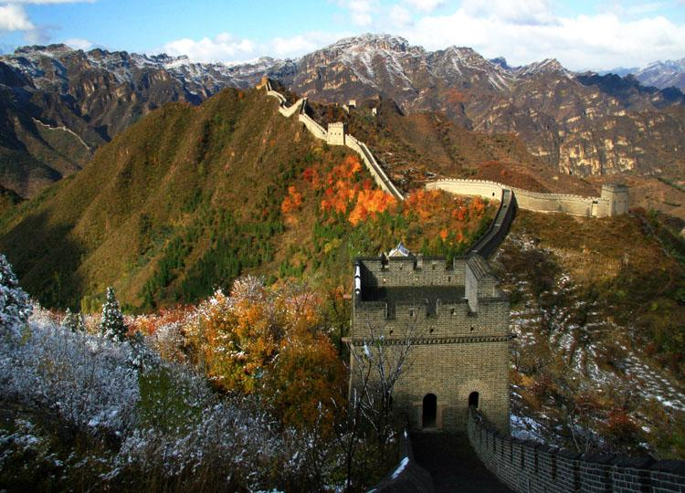 Huangyaguan Great Wall in Tianjin with Little Snow