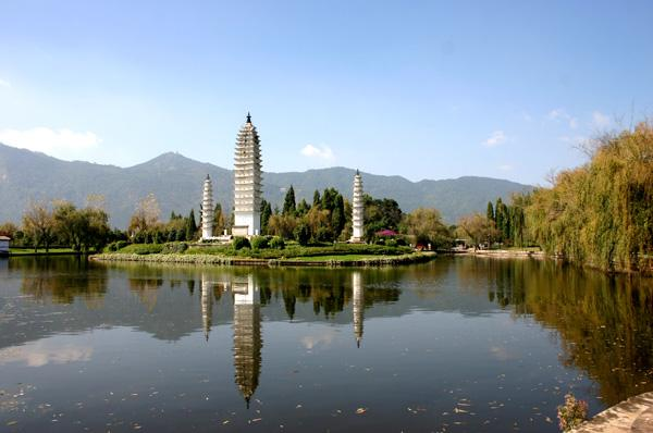The elegant three pagodas in Yunnan Ethnic Village, Kunming