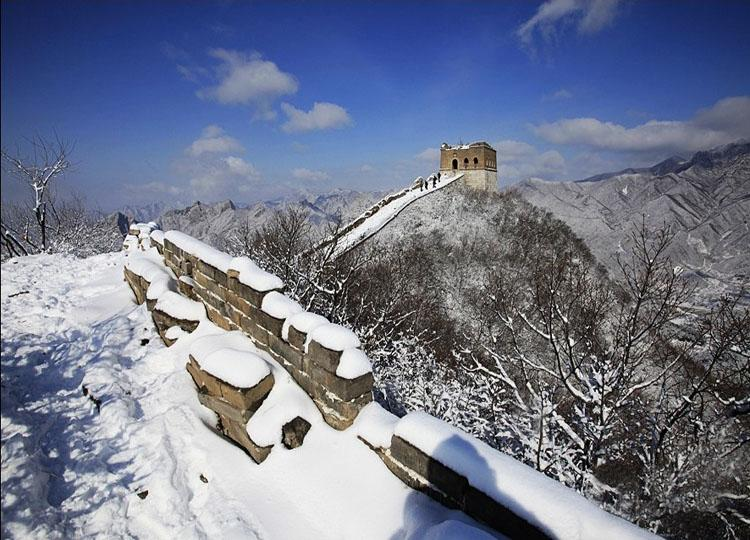 Jiankou Great Wall in Beijing Under Snow