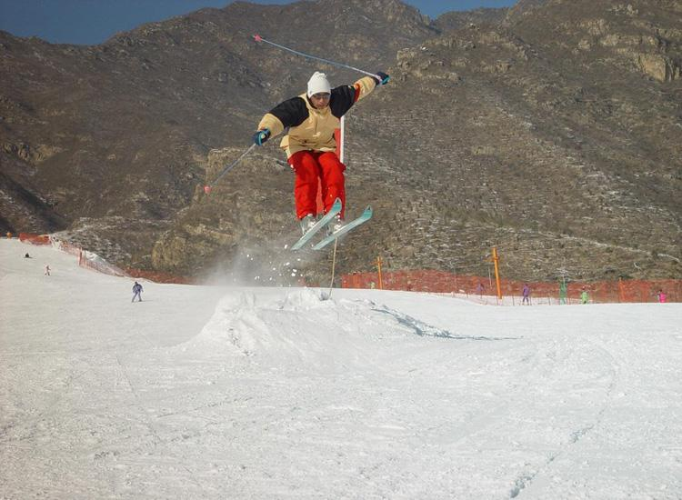 A Skier's Performance at Shijinglong Ski Resort in Beijing