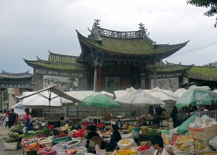 In front of the ancient stage is the local opening market