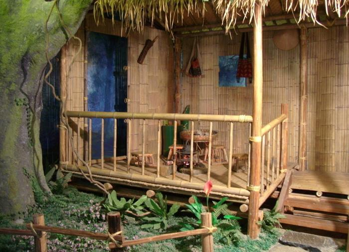 An inmitated bamboo house in the museum, Hangzhou