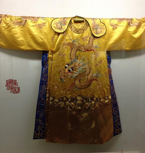 The elegant ancient silk imperial robe exhibited in the museum