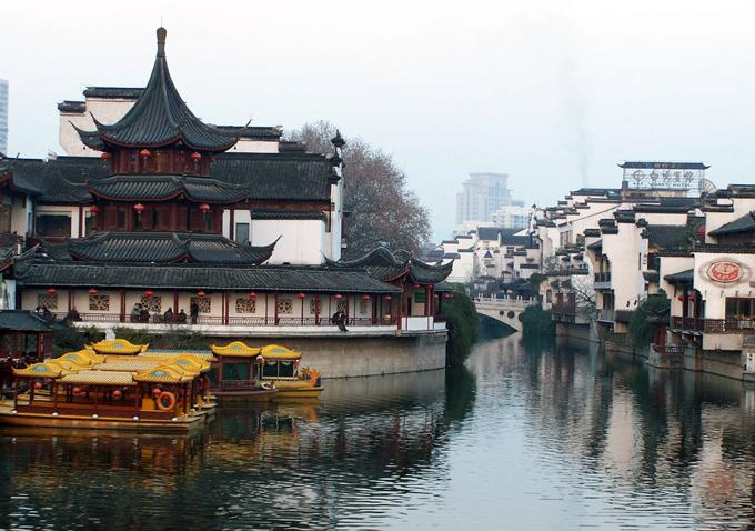 A view of Qinhuai River in the business strict of Fuzimiao, Nanjing