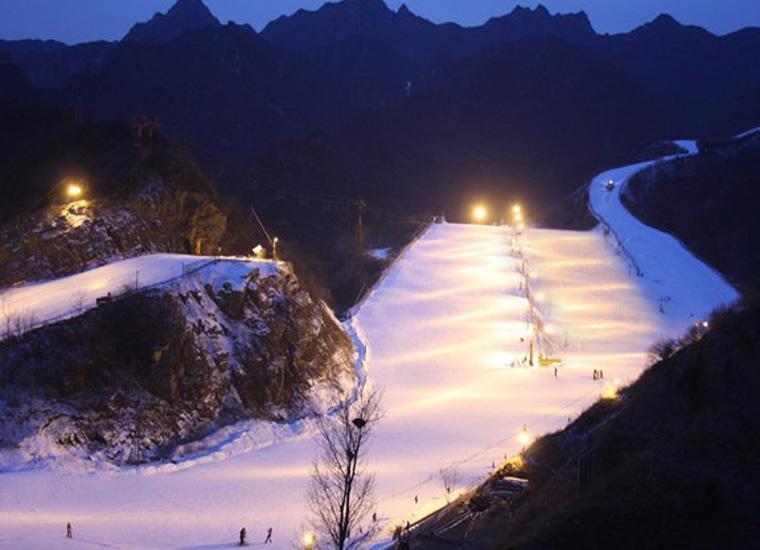 Beijing Huaibei International Ski Resort at Night