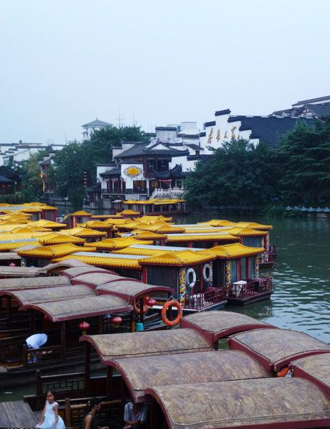 The moored sightseeing boats