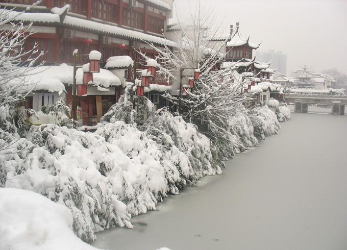A snow view of Qinhuai River