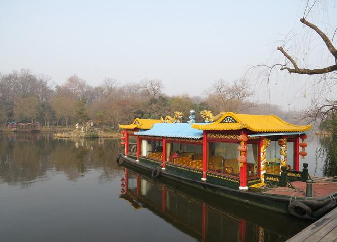 The gaily-painted pleasure-boat on Slender West Lake