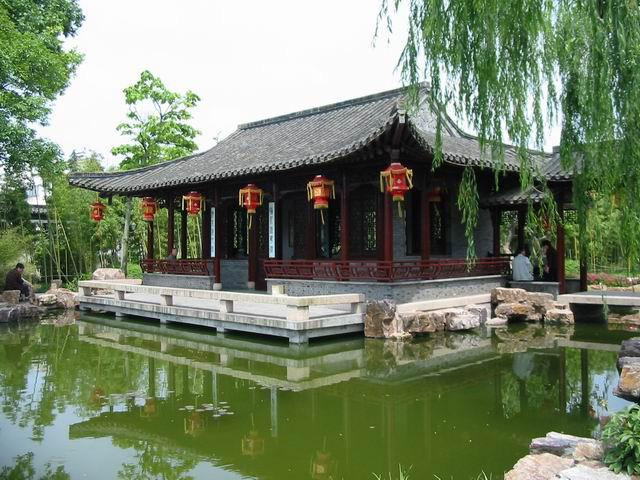 A spring scene of Ge Garden with a pavilion