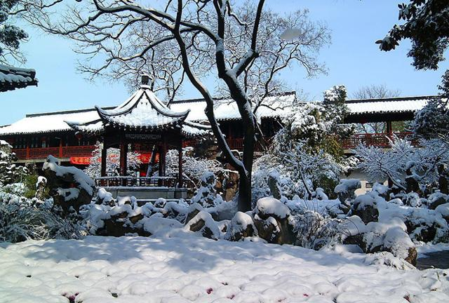 A winter scenery in the garden with snow