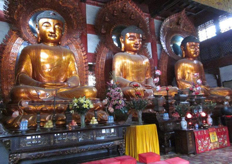 Copper Statues of Buddha in Temple of Six Banyan Trees Scenic Area, Guangzhou