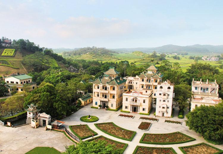 Bird's Eye View of Liyuan Garden in Kaiping of Guangdong Province, China