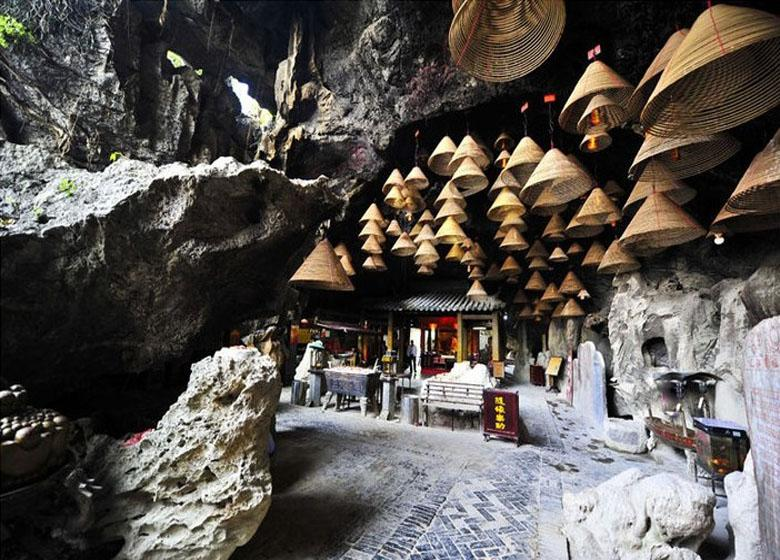 Ancient Temple in the Cave of Zhaoqing Seven Stars Cave Scenic Park, China
