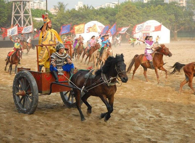 Scene of War in Ancient China Performed in the China Folk Culture Village, Shenzhen