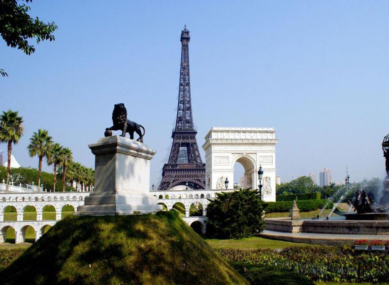 Replicas of Eiffel Tower and Arc de Triomphe in the Window of the World, Shenzhen