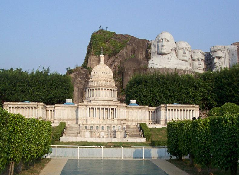 Replicas of the White House and Mount Rushmore in the Window of the World, Shenzhen