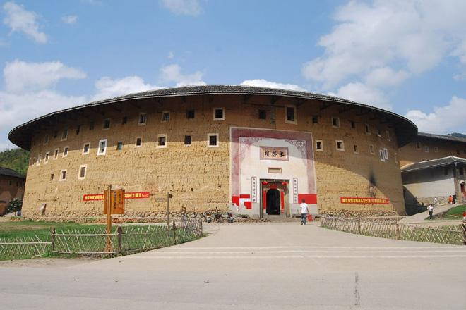 Chengqi Building is a large-scale round earthen building with four concentric circular buildings.