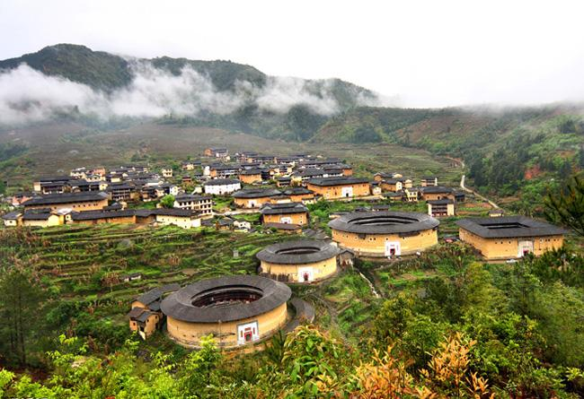 Chuxi Earthen Building Cluster is consists of five round earthen buildings and dozens of rectangle ones.