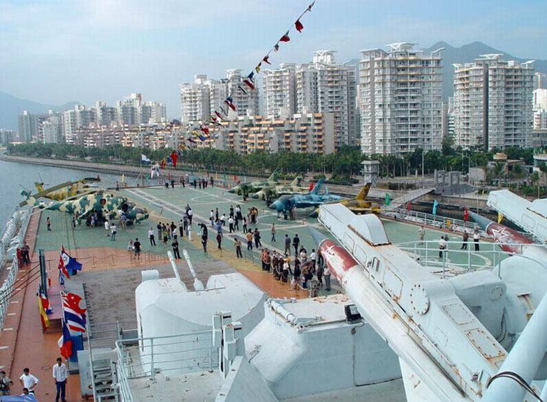 Flight deck of Minsk Aircraft Carrier in south China's Shenzhen City