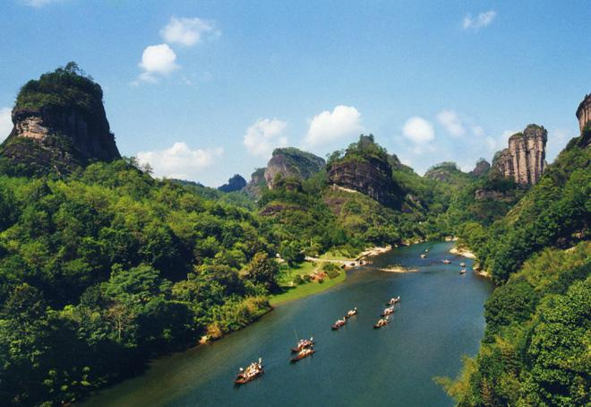 Mount Wuyi is well-known for its bluish-green waters and red mountains.