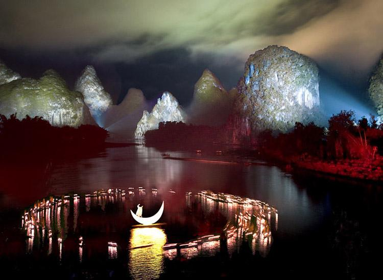 Impression Sanjie Liu is a large-scaled live-action performance of landscape in Guilin, China