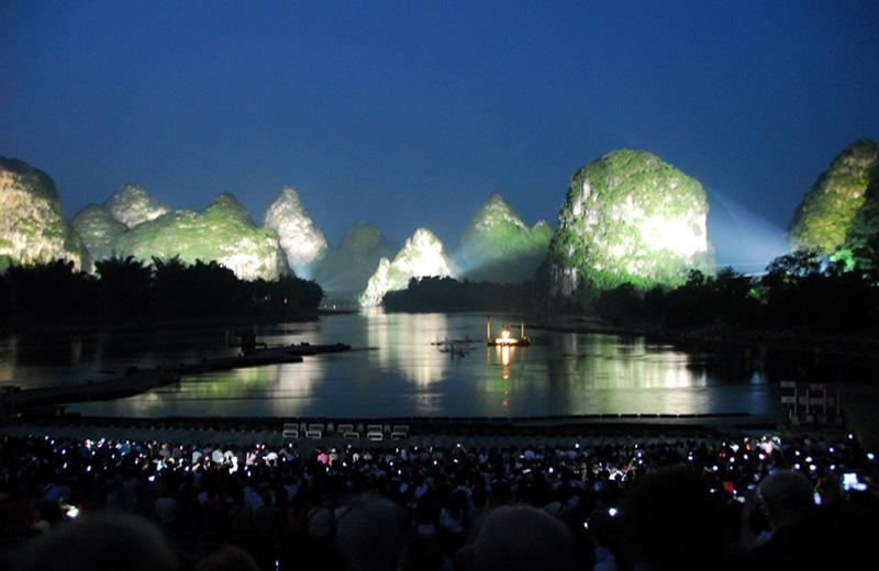 The on-water performance Impression Sanjie Liu is set with scenery of Li River as backdrop