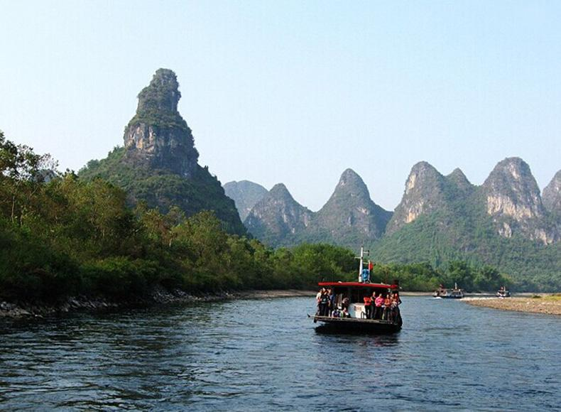 Snail Hill(the left) in Xingping Landscape Area of Yangshuo, Guilin