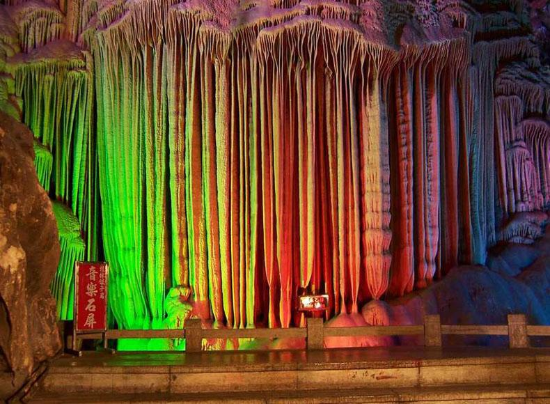 Music Screen in Silver Cave Scenic Area of Guangxi Province, China
