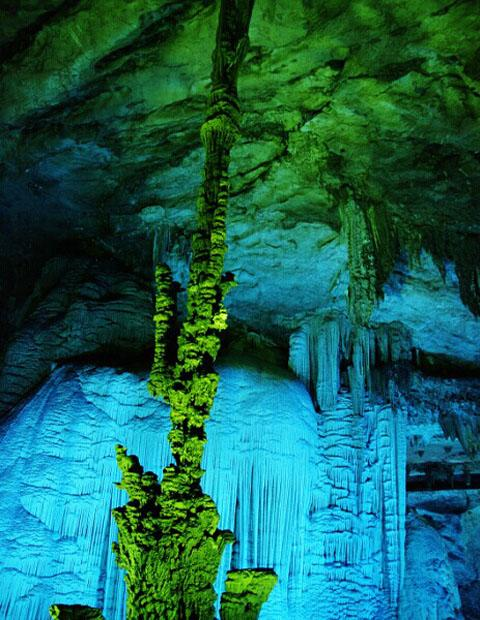 The spot of Sole Pillar Holding up the Sky in the Silver Cave Scenic Area, China
