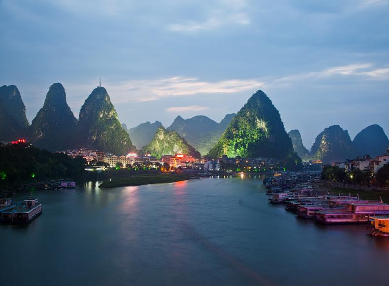 Green Lotus Peak in Yangshuo County of Guilin City at night
