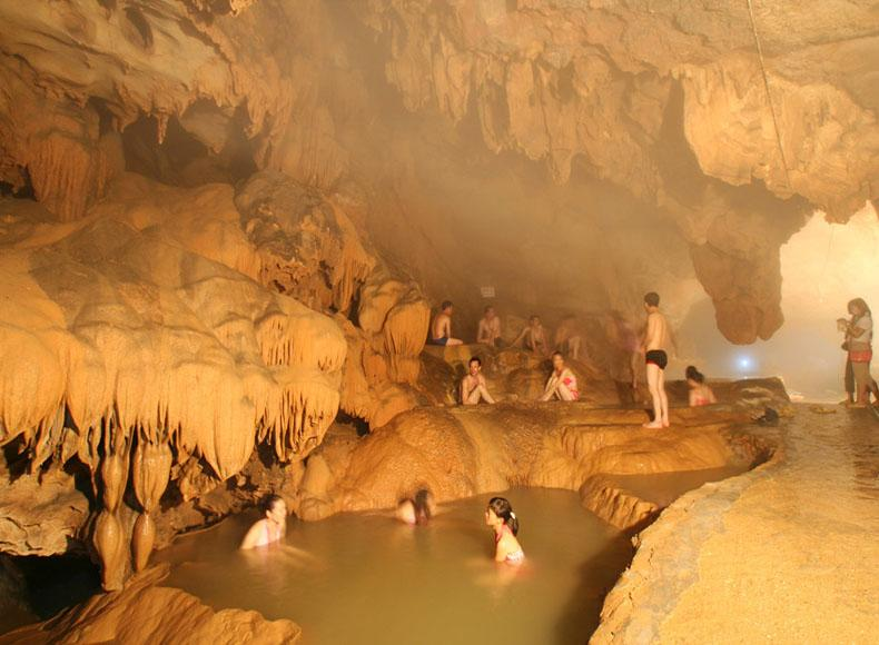 Tourists can also enjoy a hot-spring bath in the Buddha Water Cave