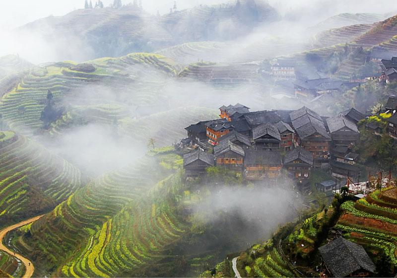 Ping'an Village in Longsheng County of Guilin is where one part of Longji Rice Terraces located