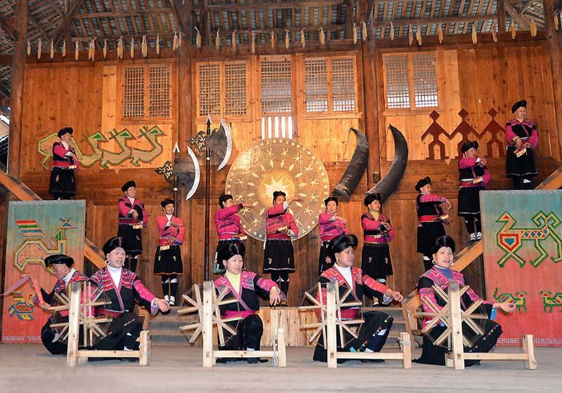 Yao peoples' performance in Yao and Zhuang Ethnic Tribes of Longsheng County, Guilin