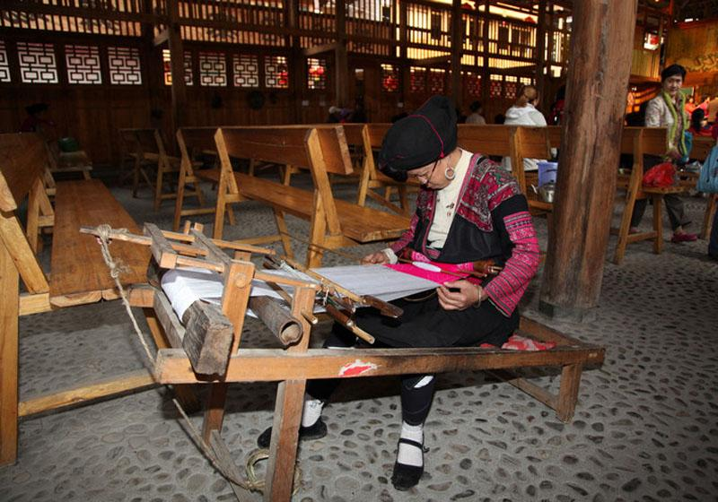 A Yao person brocades in Yao and Zhuang Ethnic Tribes of Longsheng County, Guilin