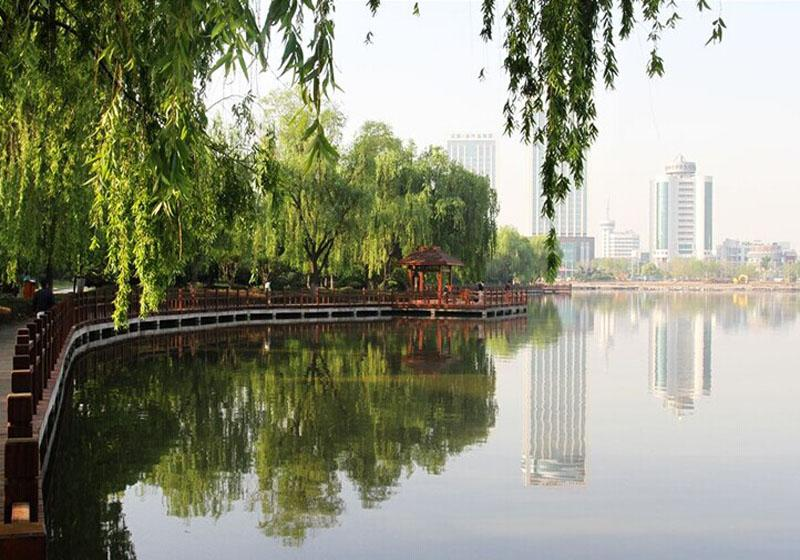 Lake accounts for three quarters of the total area of Nanhu Lake Park in Nanning, China