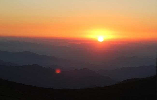 The sunrise on Wutai Mountain