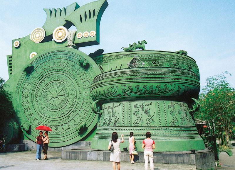 The gigantic Yunlei Wen Giant Drum in Guangxi Ethnic Relics Center, Nanning