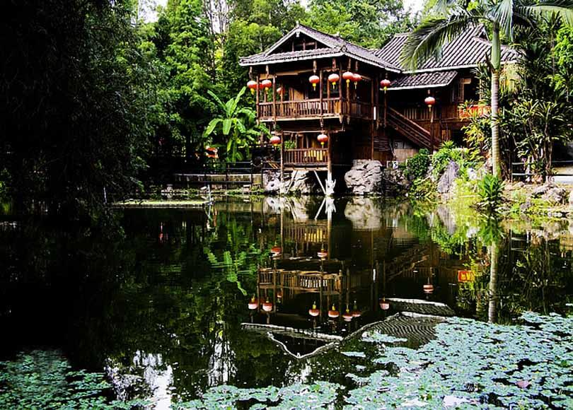 Stilted building in Guangxi Ethnic Relics Center, Nanning