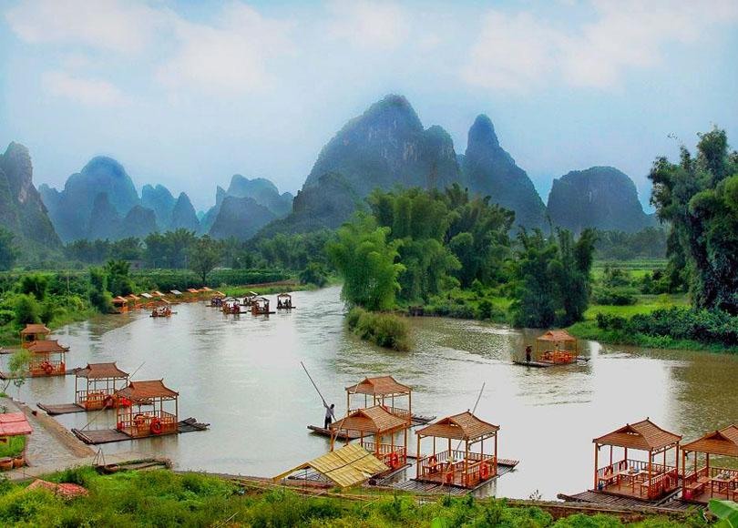 The picturesque scenery of Ming-shi Countryside Scenic Area in Guangxi, China