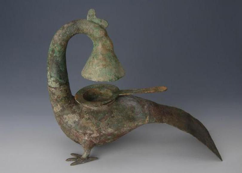 Bronze lamp made in the ancient China's Western Han Dynasty preserved in Guangxi Provincial Museum