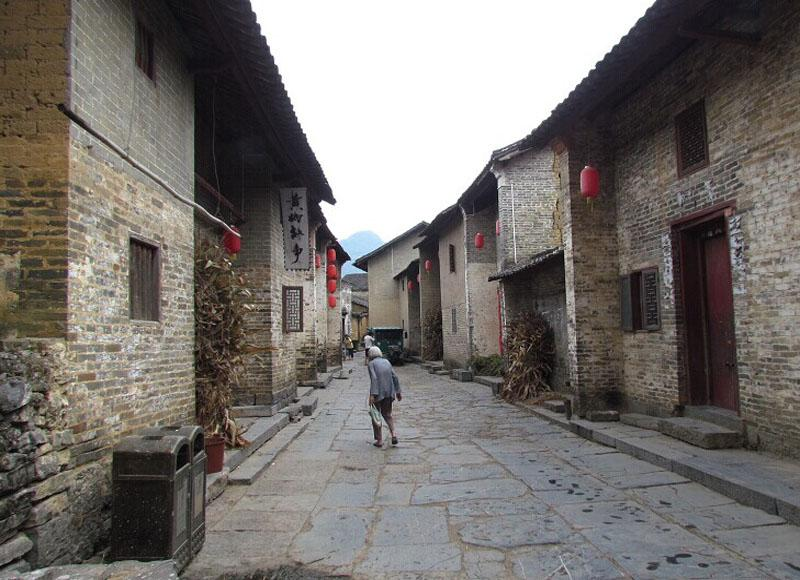 Slab-stone street in Huangyao Ancient Town of Hezhou, China's Guangxi Province