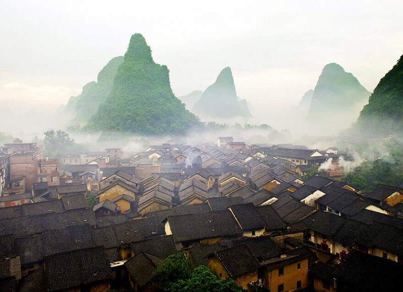 Beautiful scenery of Huangyao Ancient Town in mist