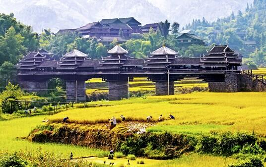 Beautiful scenery of Chengyang Wind and Rain Bridge in autumn.