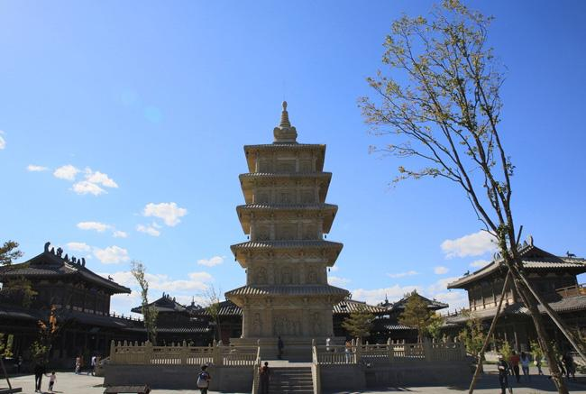 A stone pagoda in the attraction of Yungang Grotoes.
