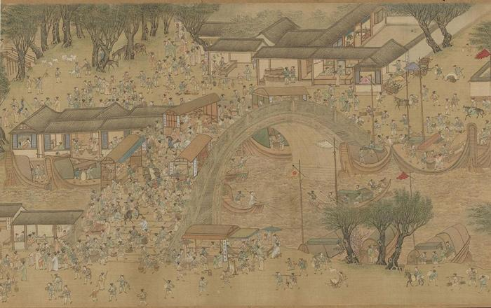 A part of the famous Riverside Scene at Qingming Festival of Song Dynasty in Shanghai Museum.