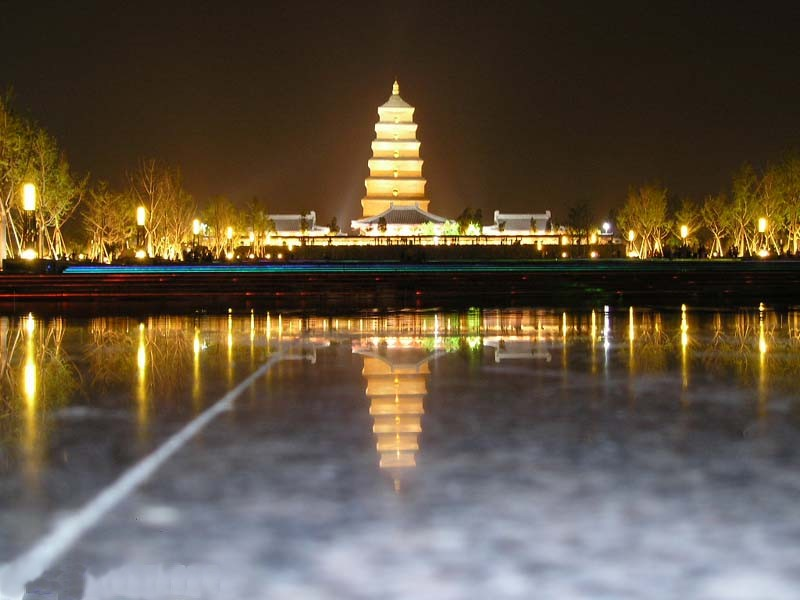 Big Wild Goose Pagoda at Night
