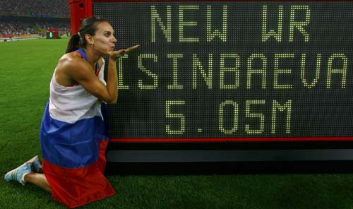 Isinbaeva sets new record after securing gold