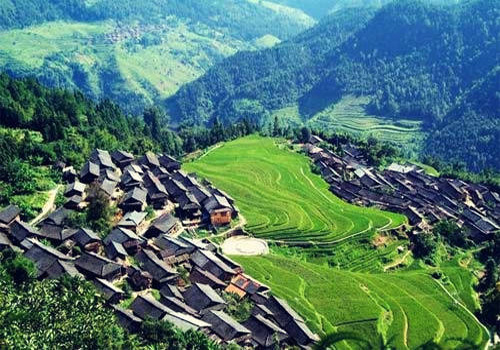 Shui ethnic village and its terraced fields