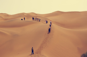 Hiking in Taklamakan Desert